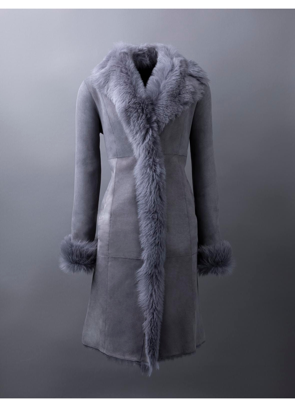 Tindale Long Toscana Shearling Coat in Grey