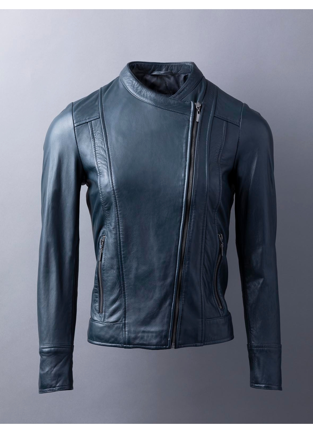 Jilly Leather Jacket In Navy