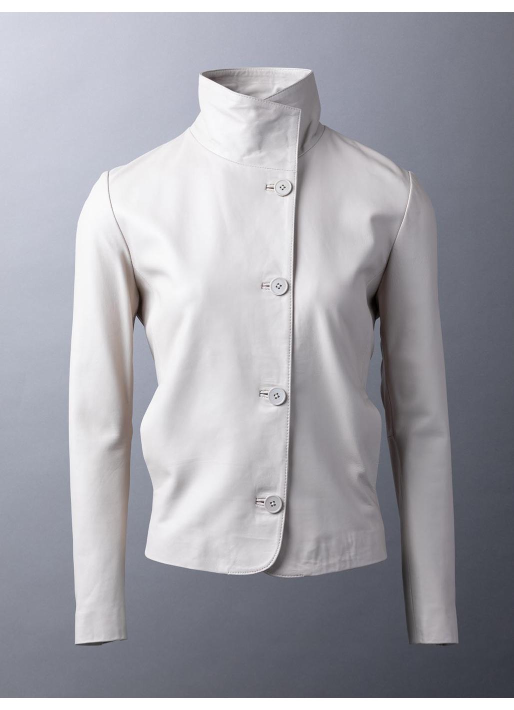 Derwentwater Leather Jacket in Parchment