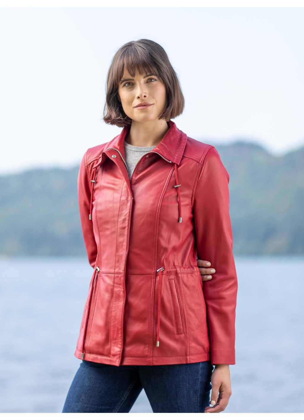 Levens Leather Field Jacket in Red