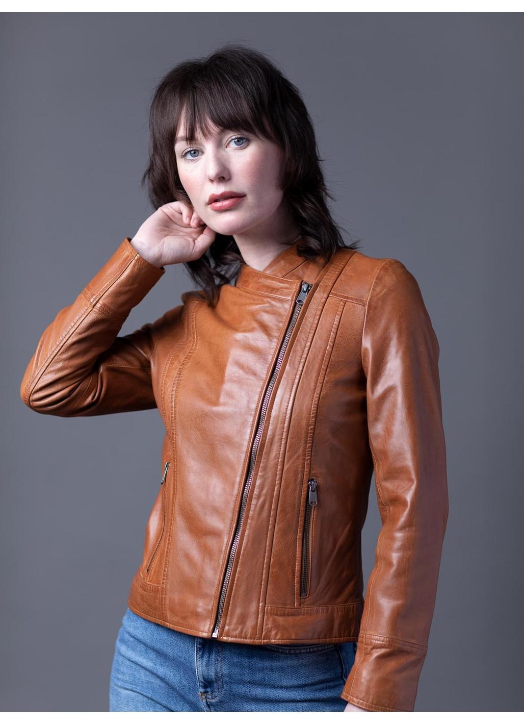 Jilly Leather Jacket in Tan