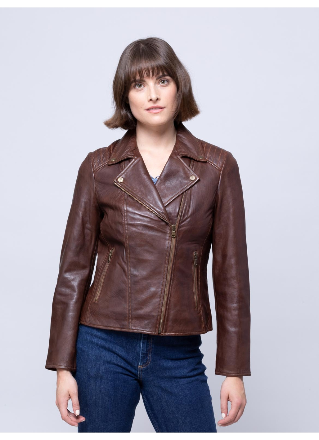 Thursby Vegetable Tanned Leather Biker Jacket in Tan