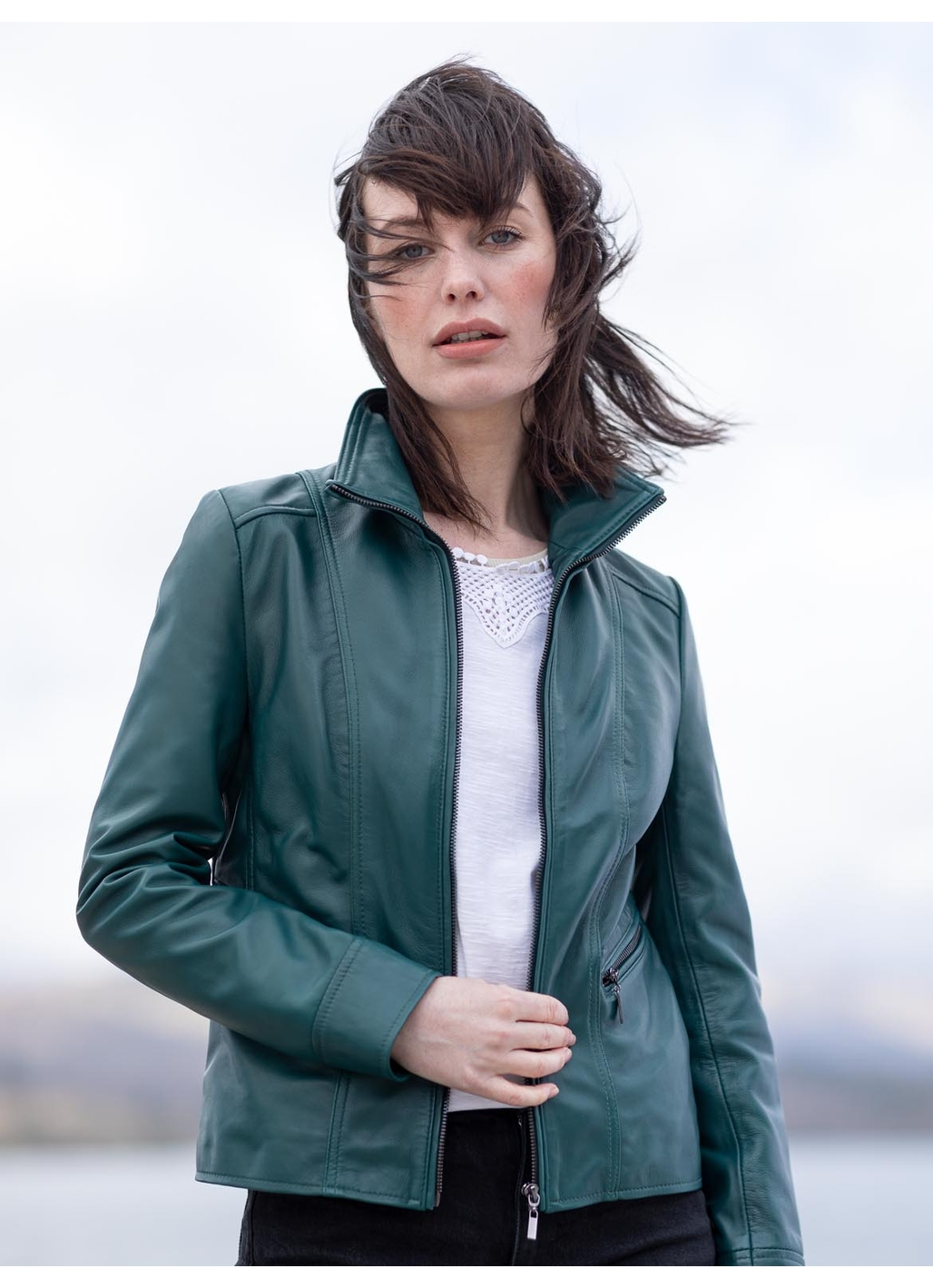 Fornside Leather Jacket in Teal