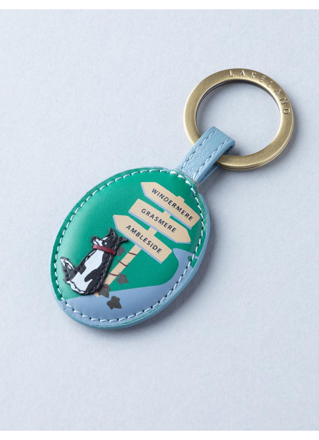 The Lakes Dog Walk Leather Keyring in Sky Blue