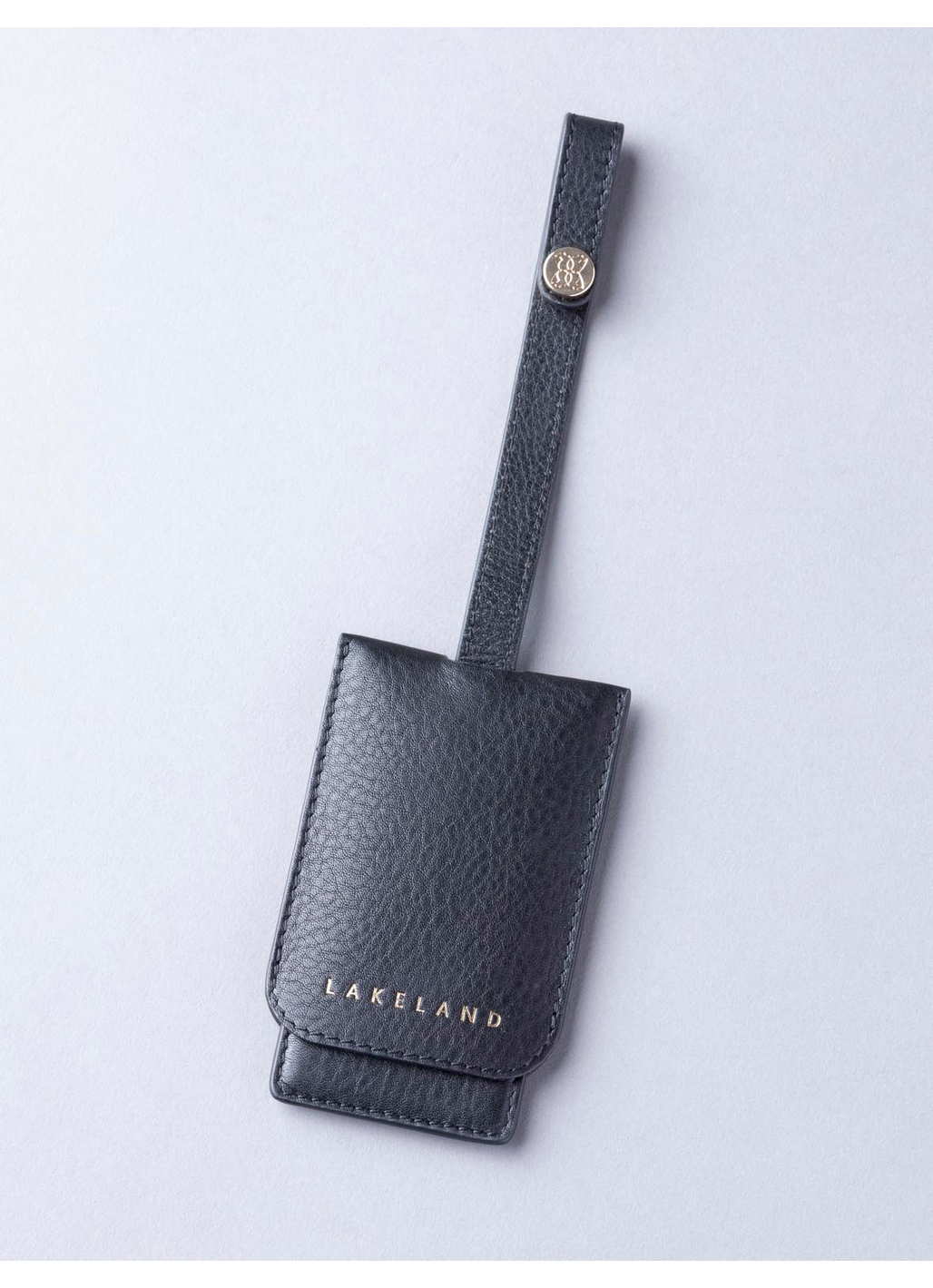 Wray Leather Mirror Key Ring in Black