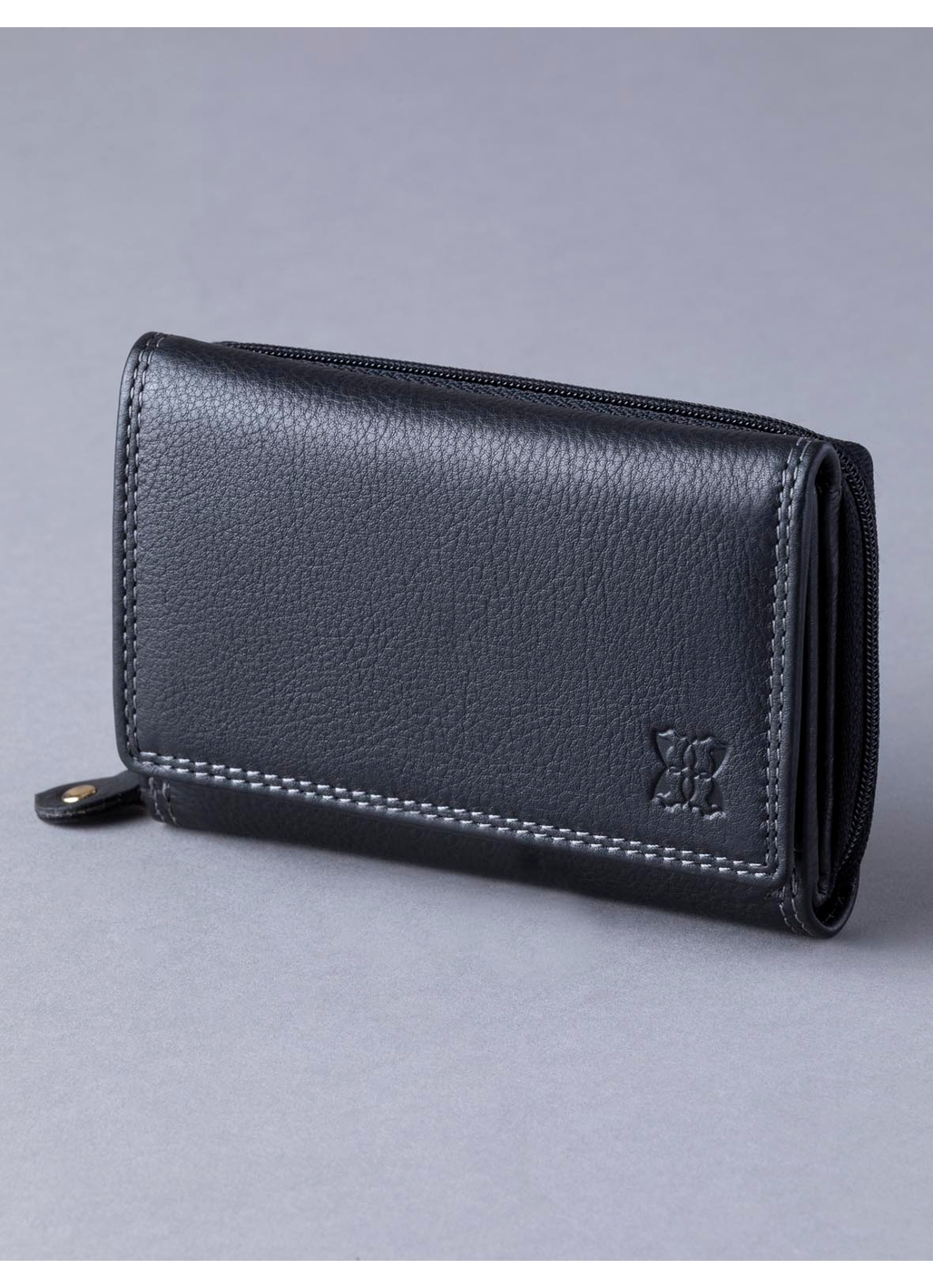 12.5cm Leather Purse in Black