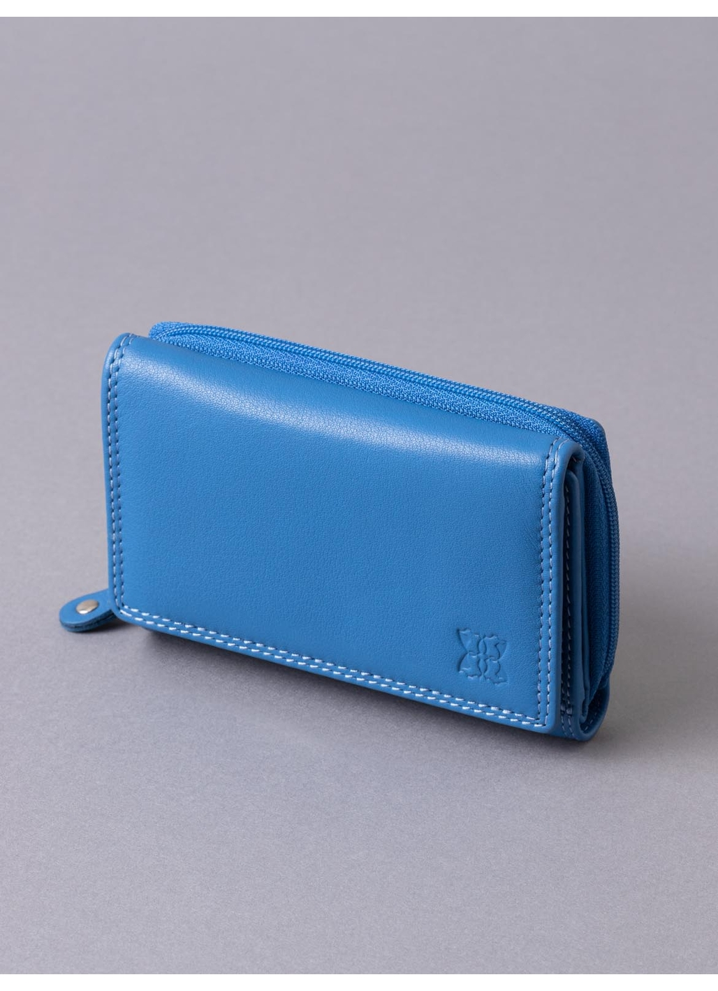 12.5cm Leather Purse in Blue