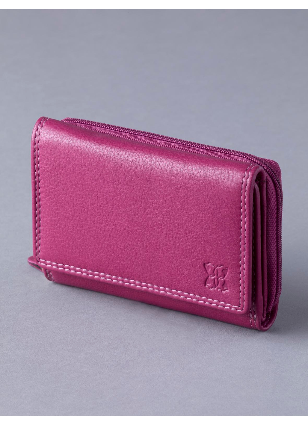 12.5cm Leather Purse in Cranberry Pink