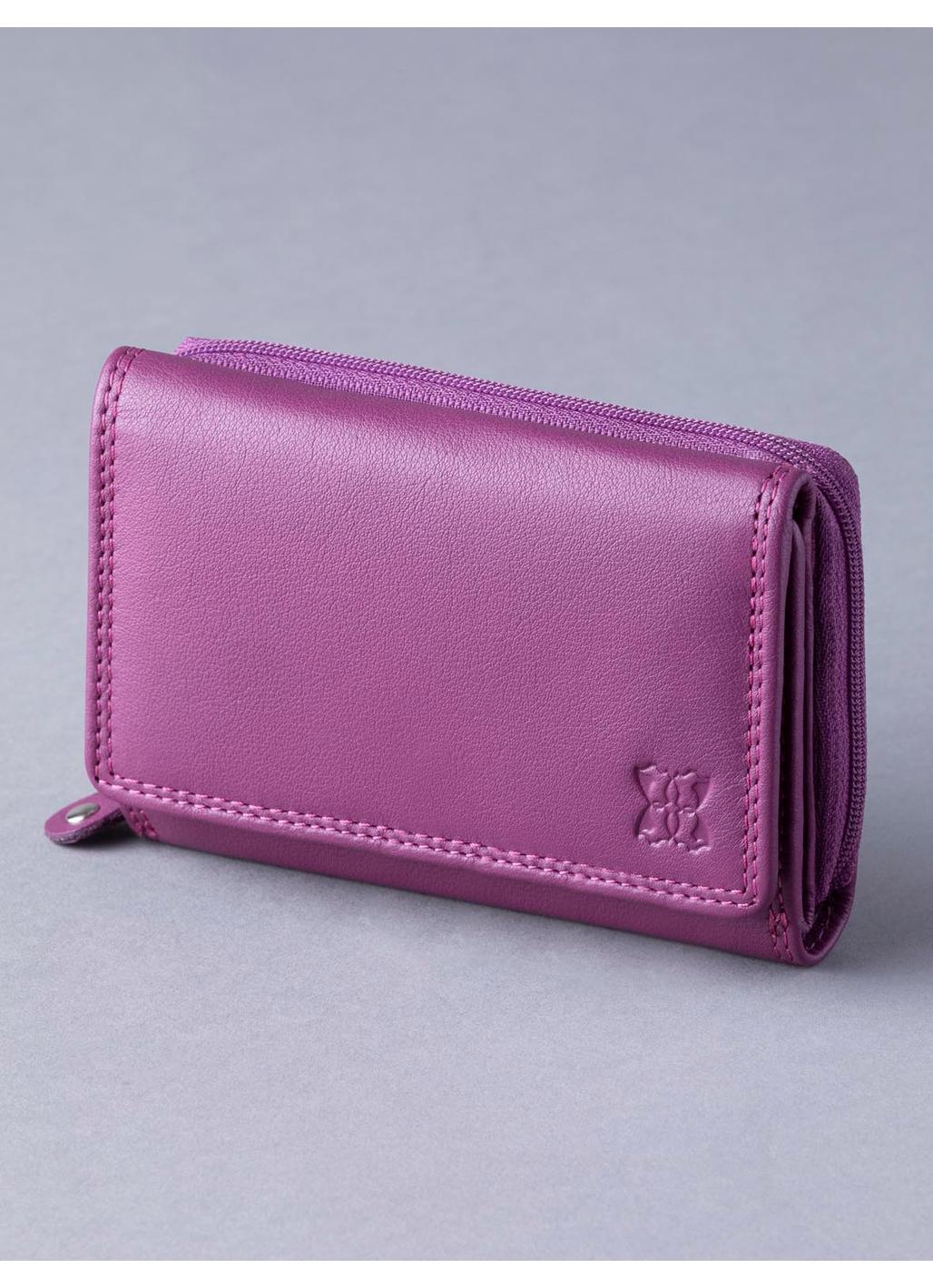 12.5cm Leather Purse in Fuchsia Pink