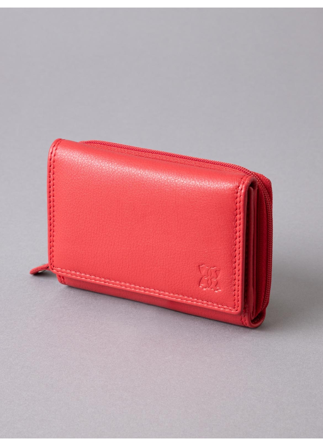 12.5cm Leather Purse in Red