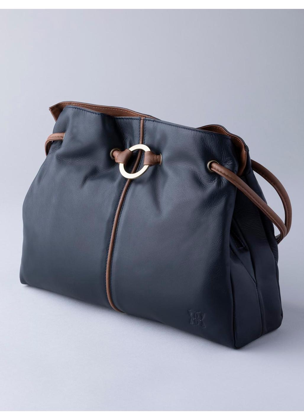 Ring Detail Leather Shoulder Bag in Navy