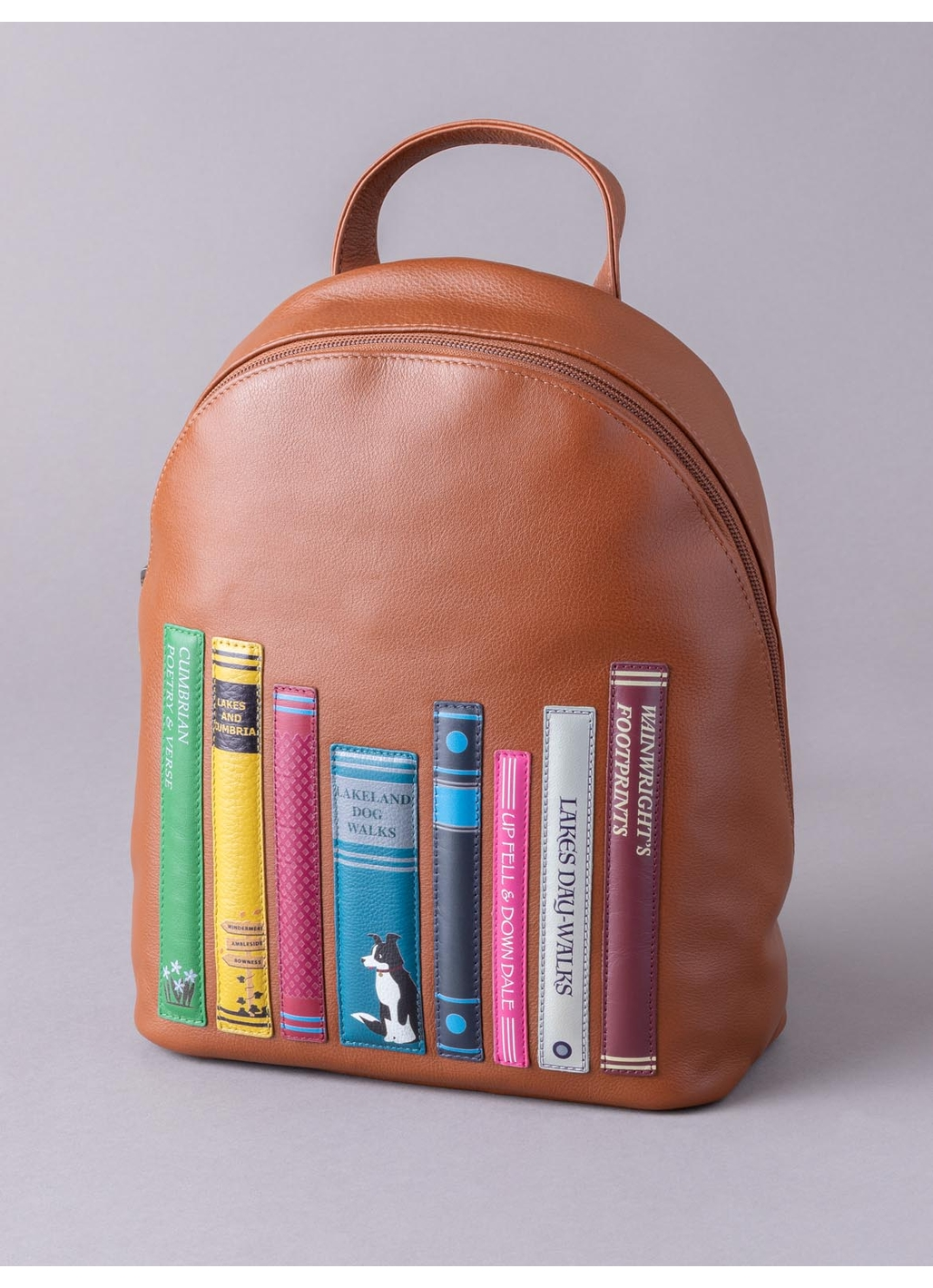 The Lakes Book Leather Backpack in Tan