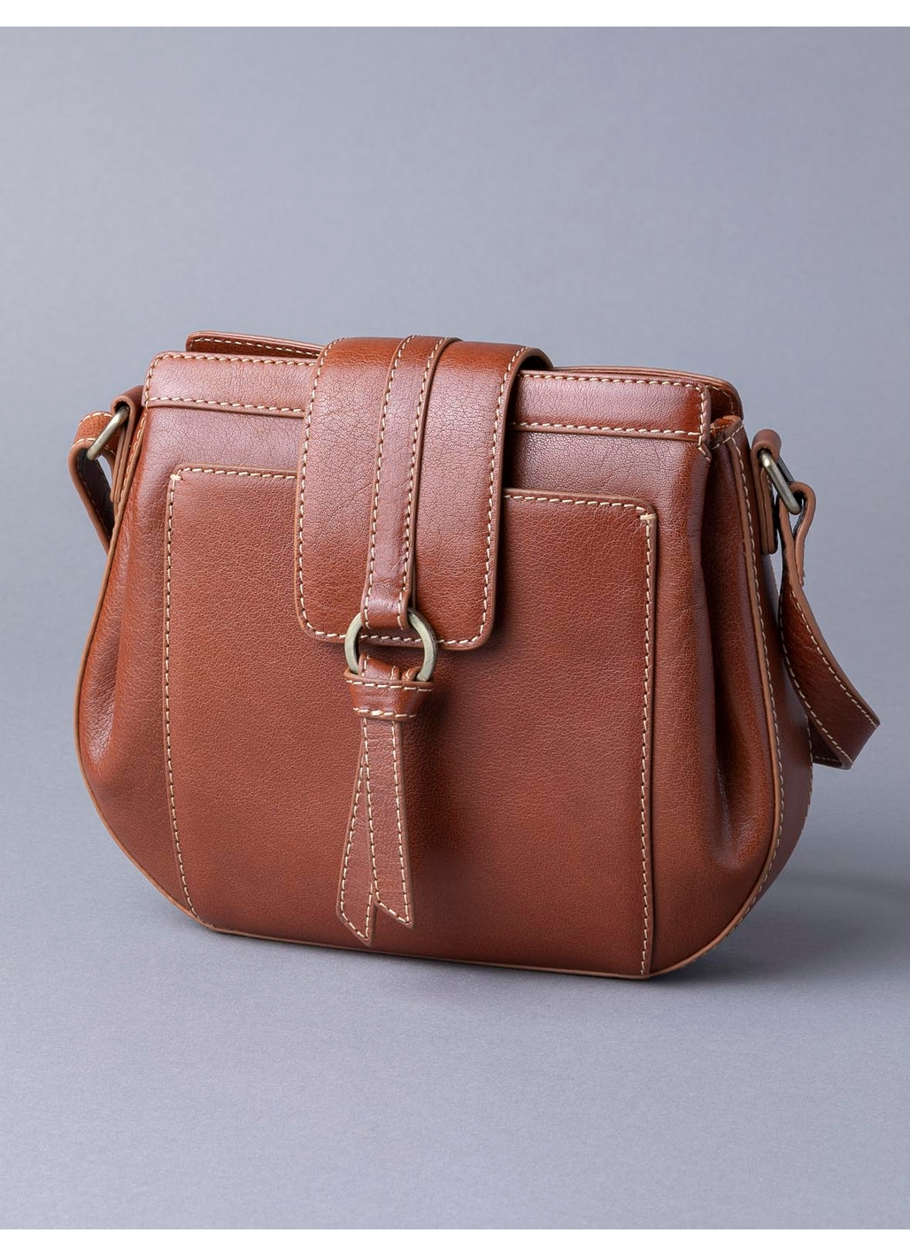 Birthwaite Leather Saddle Bag in Cognac
