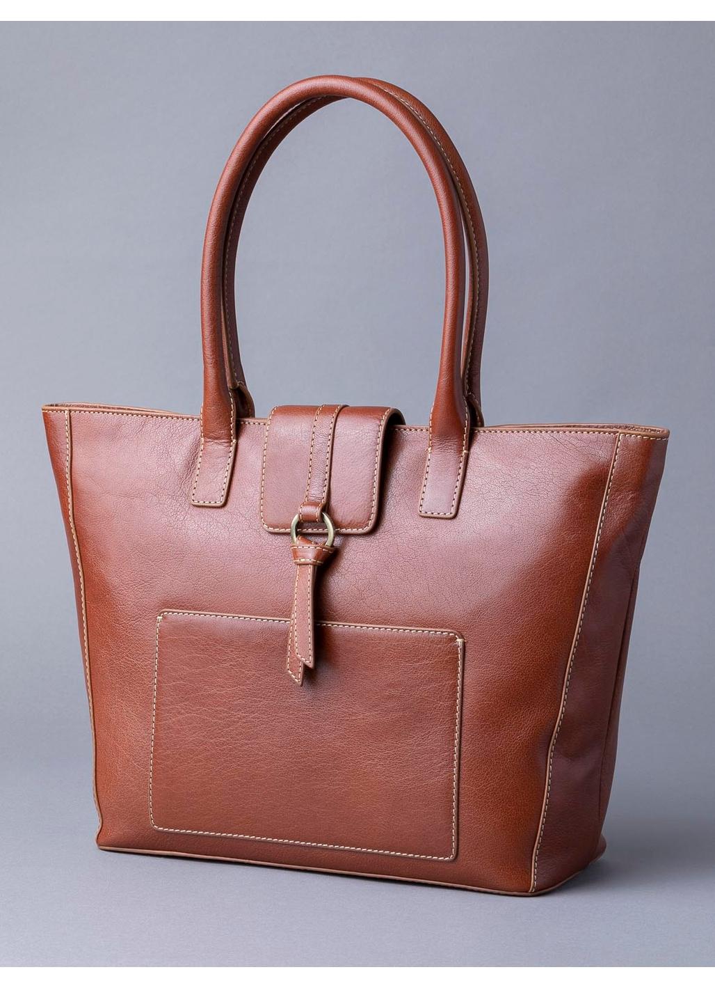 Birthwaite Leather Shopper in Cognac