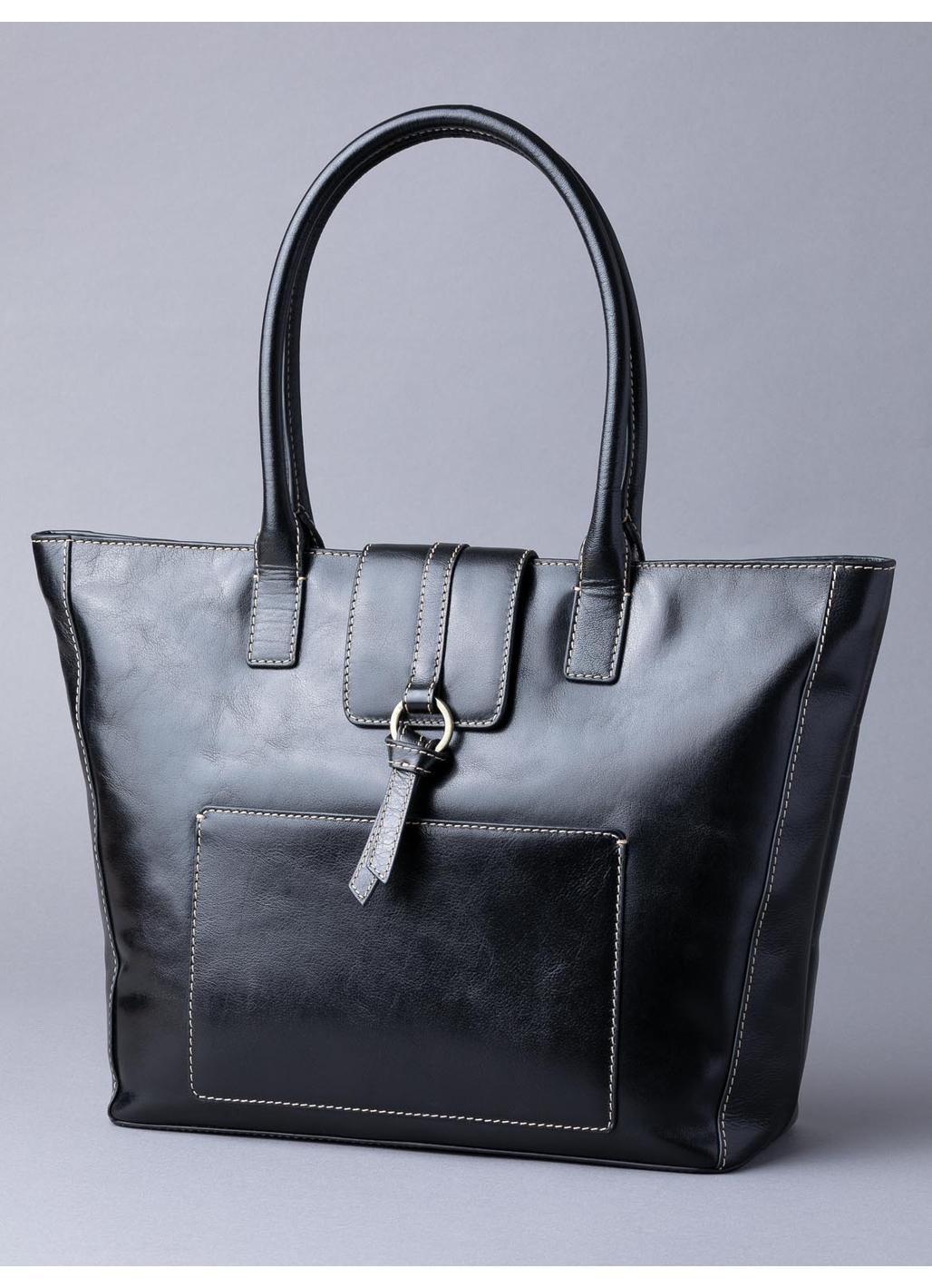 Birthwaite Leather Shopper Bag in Black