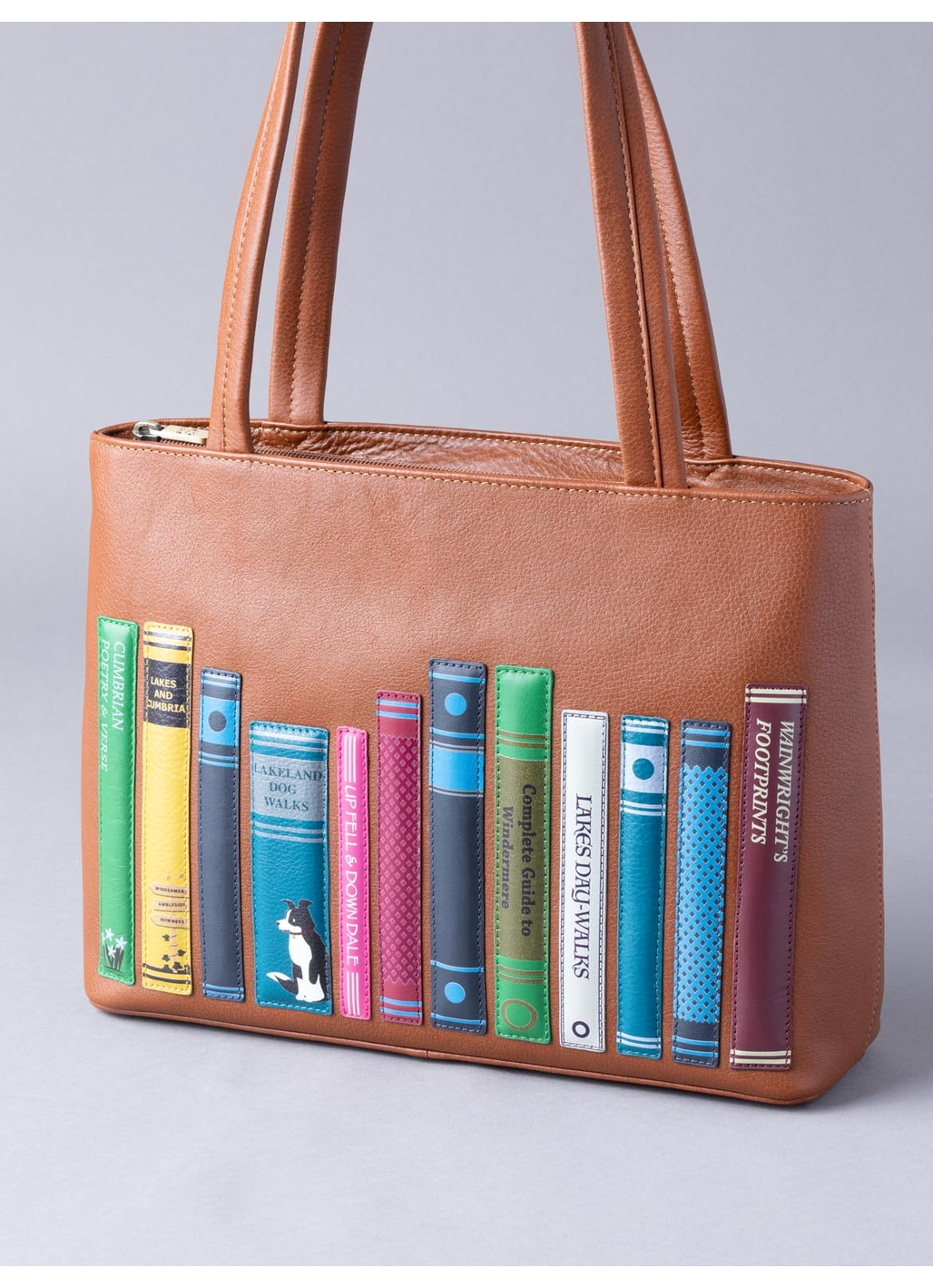 The Lakes Book Leather Shoulder Bag in Tan