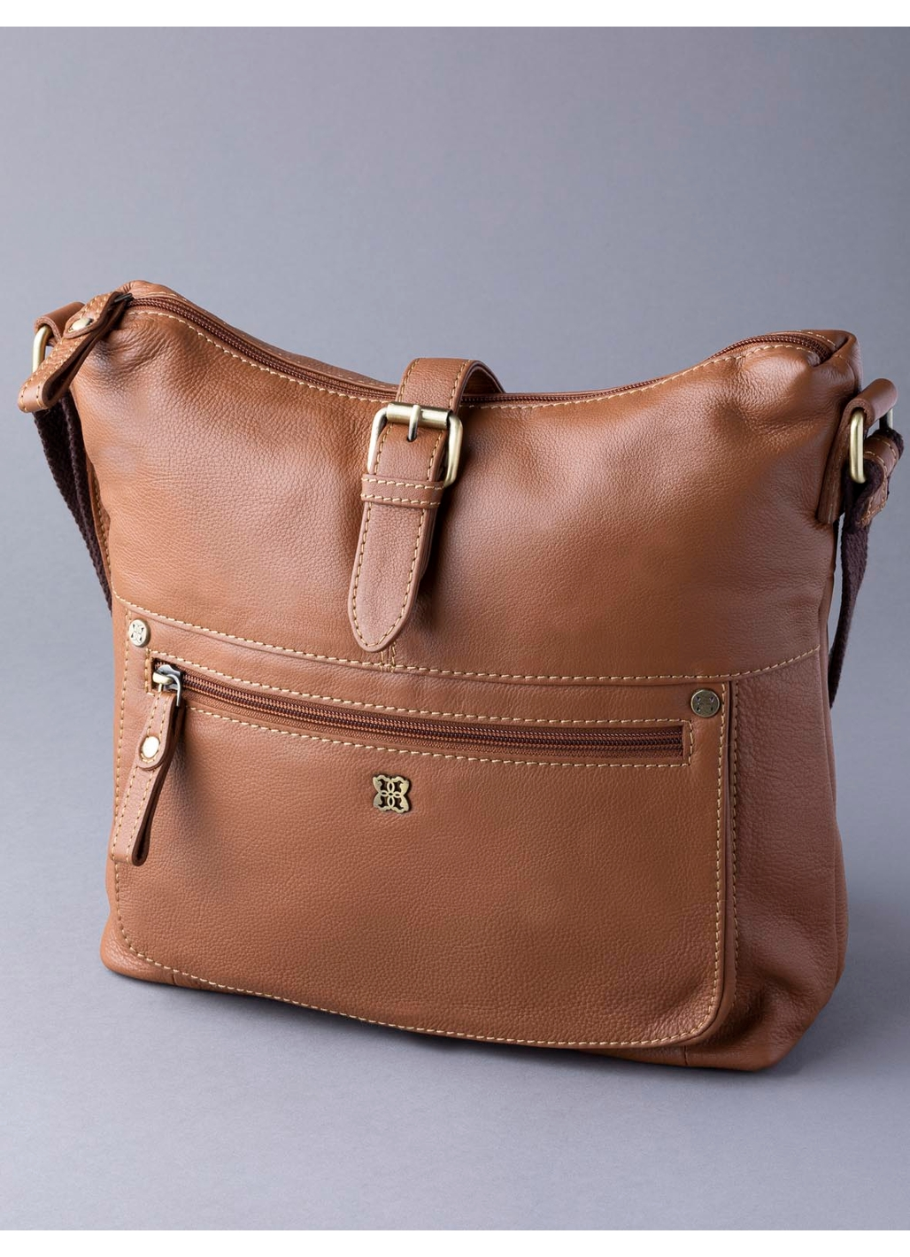 Rickerby Leather Shoulder Bag in Cognac