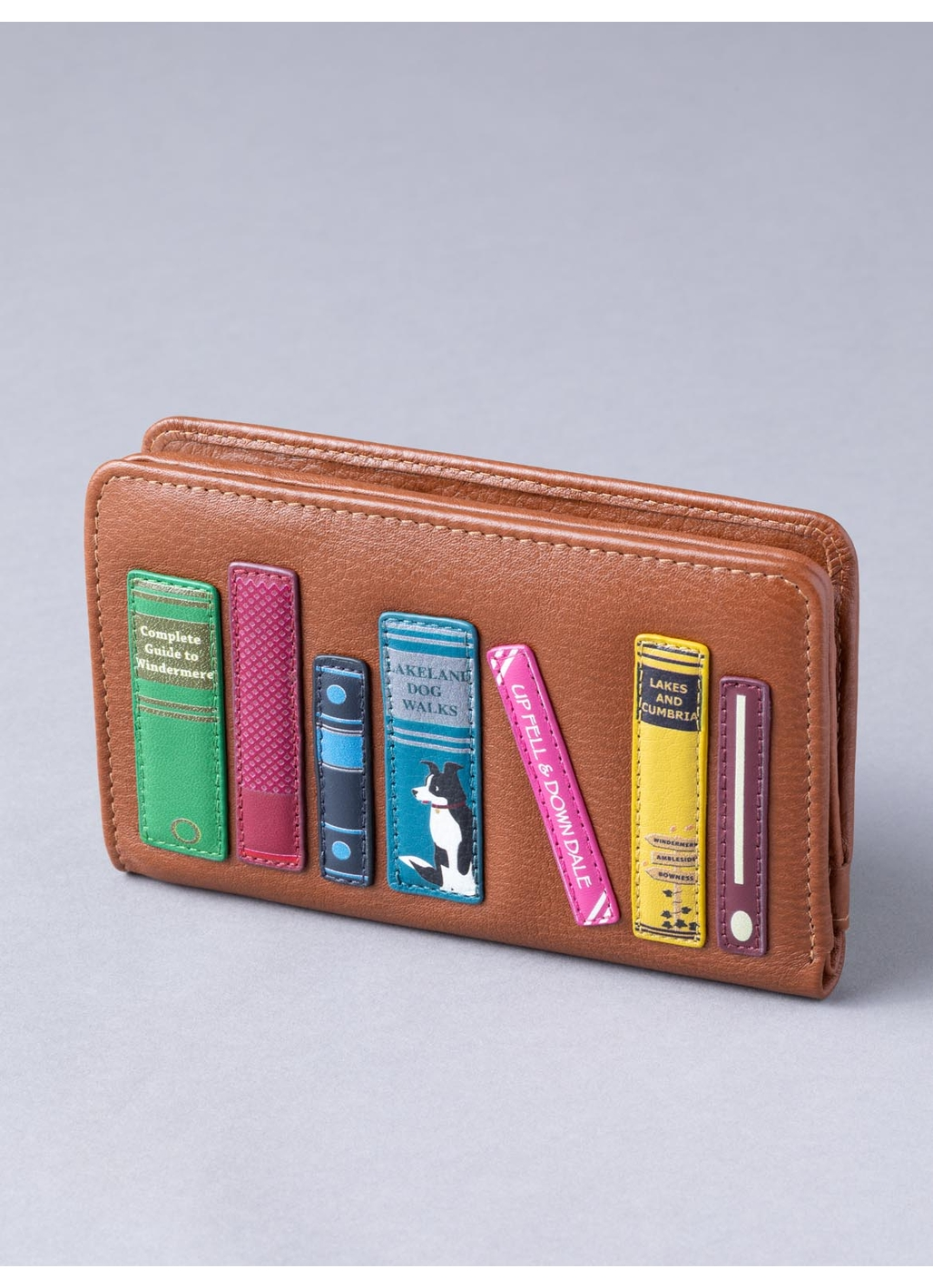 The Lakes Book Leather Small Zip Purse in Tan