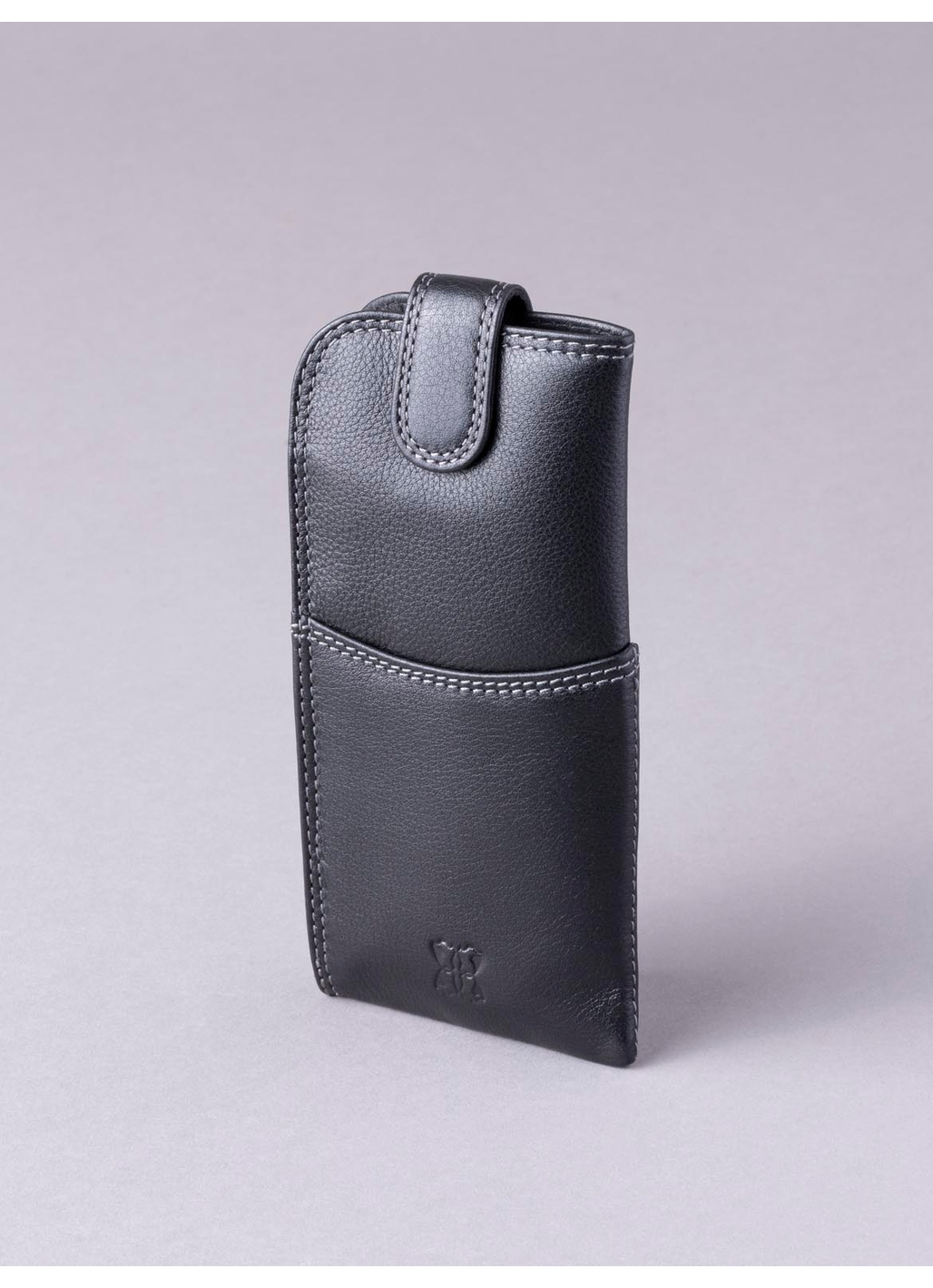 Leather Tab Glasses Case in Black