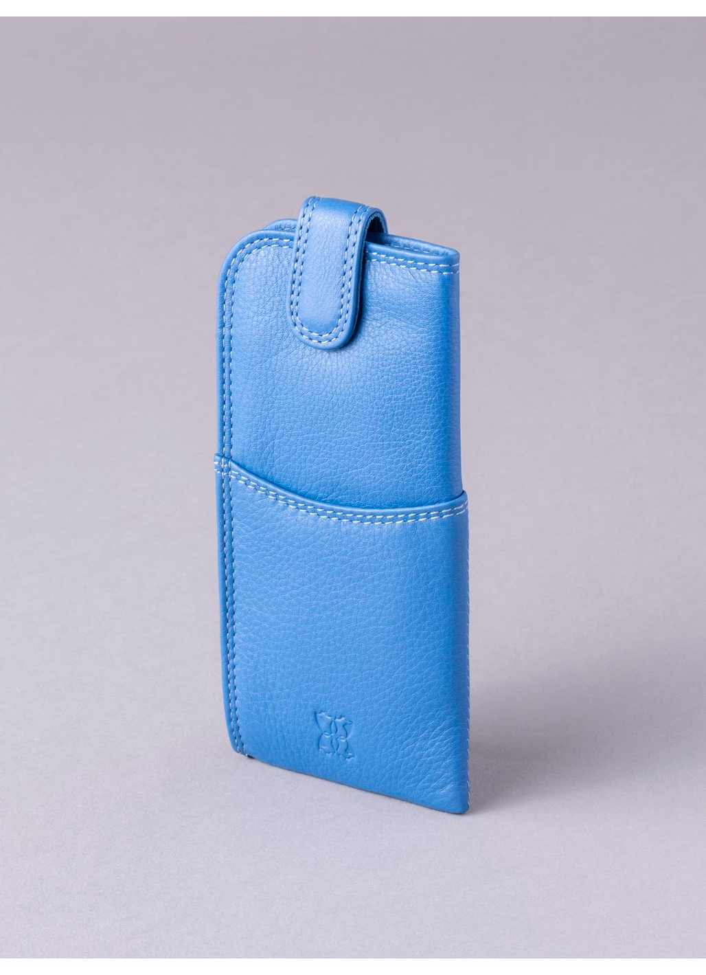Leather Tab Glasses Case in Blue