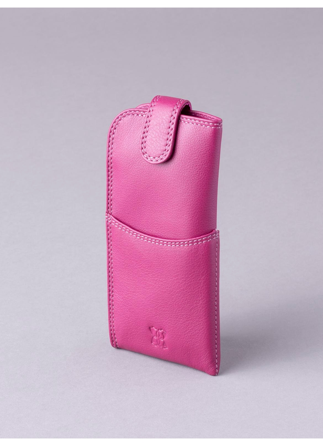 Leather Tab Glasses Case in Cranberry Pink