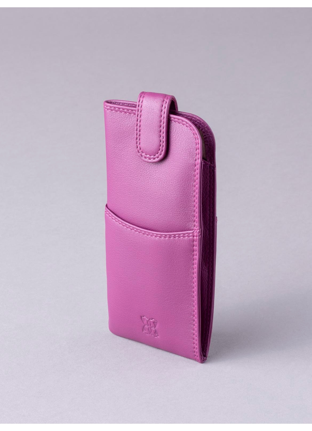 Leather Tab Glasses Case in Fuchsia Pink