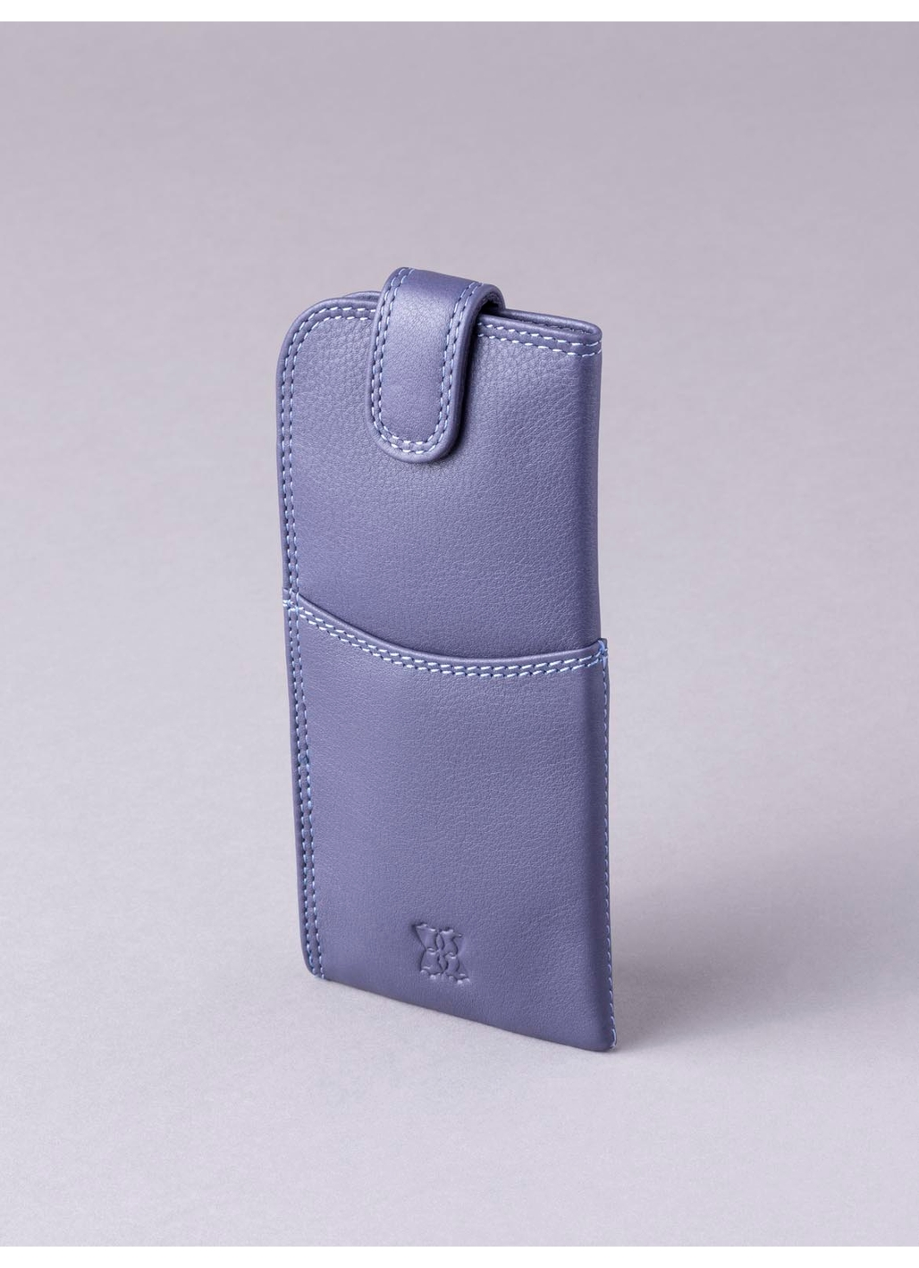Leather Tab Glasses Case in Purple