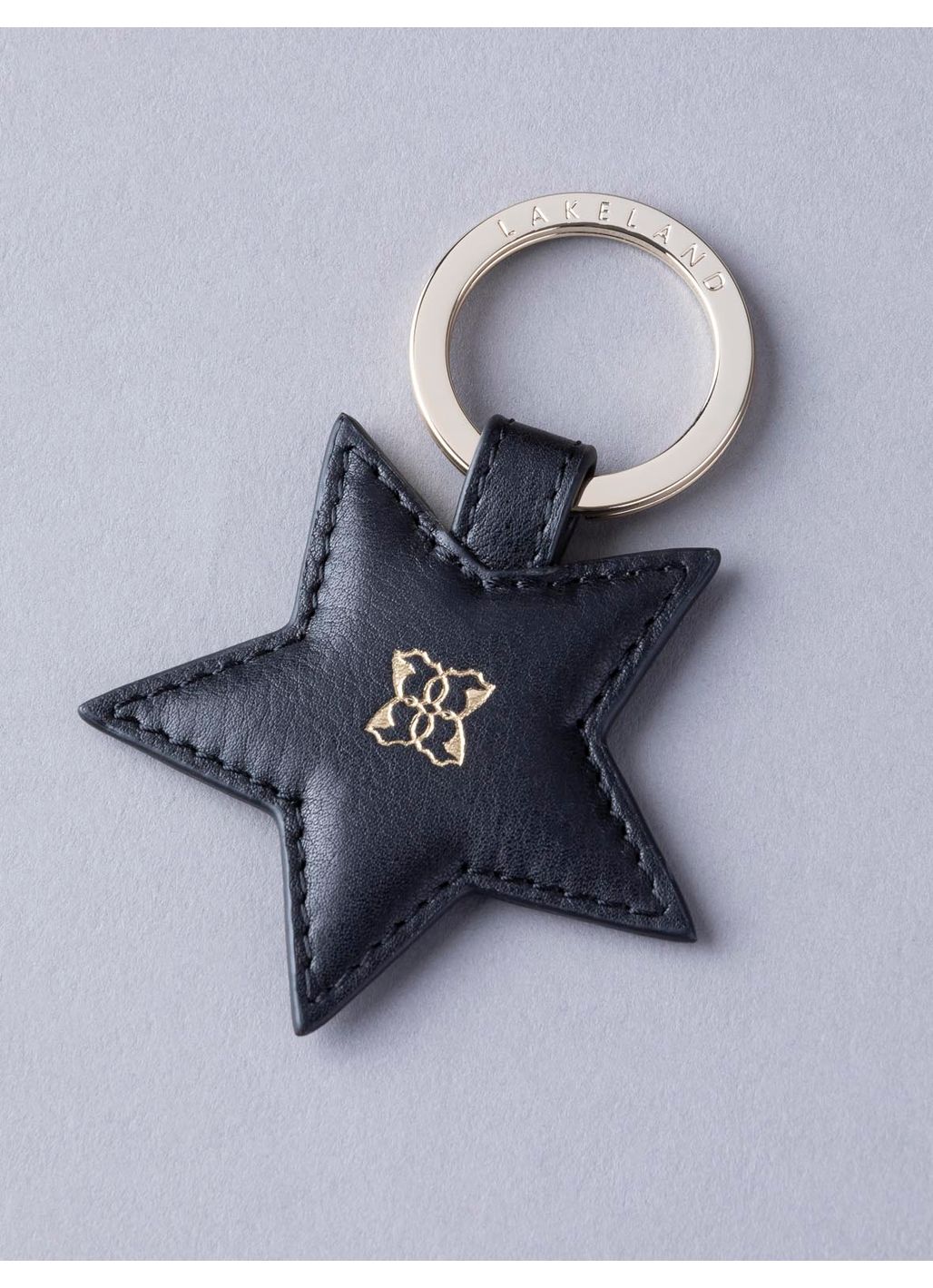 Wray Leather Star Keyring in Black
