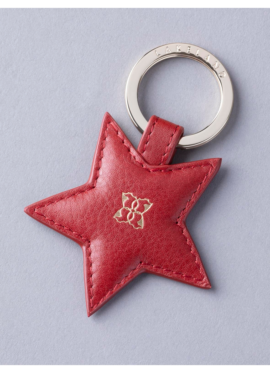 Wray Leather Star Keyring in Red