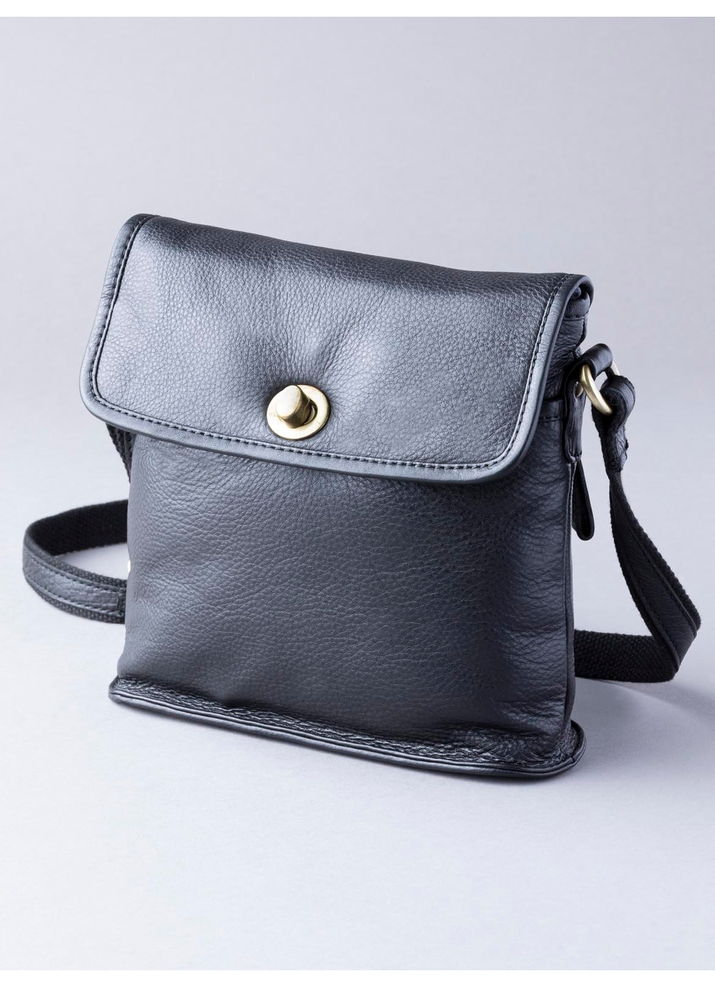 Rickerby Leather Turn Lock Cross Body Bag in Black