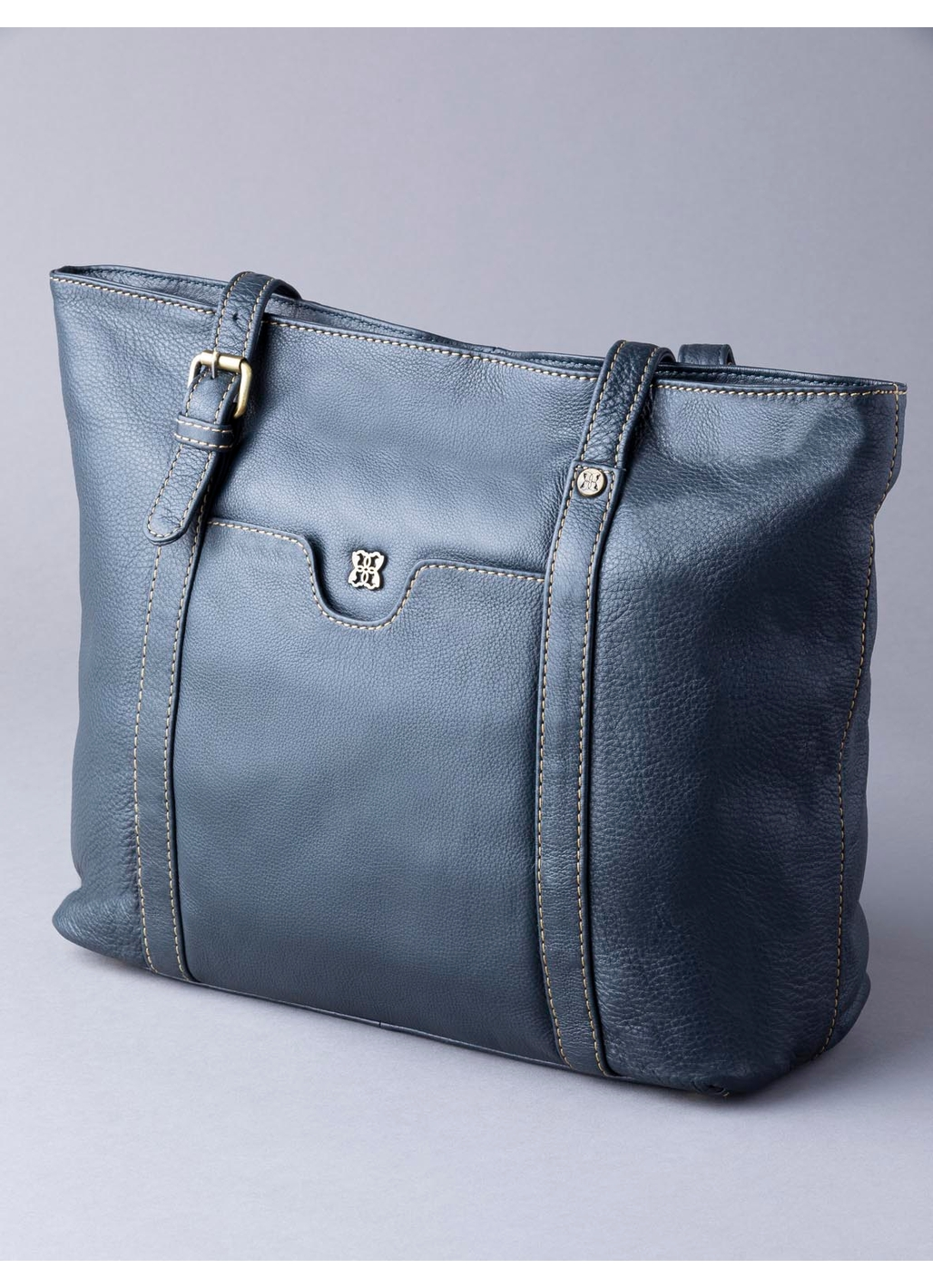 Rickerby Leather Tote Bag in Navy