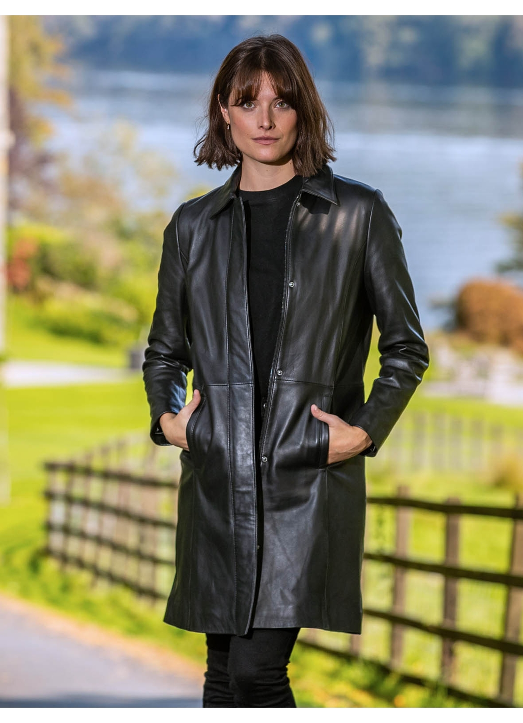 Bella Leather Trench Coat in Black