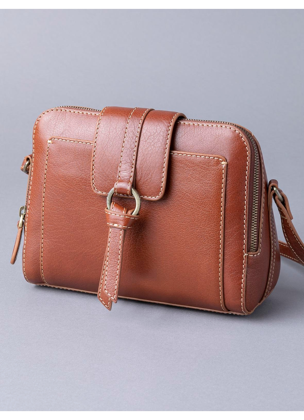 Birthwaite Leather Cross Body Bag in Cognac