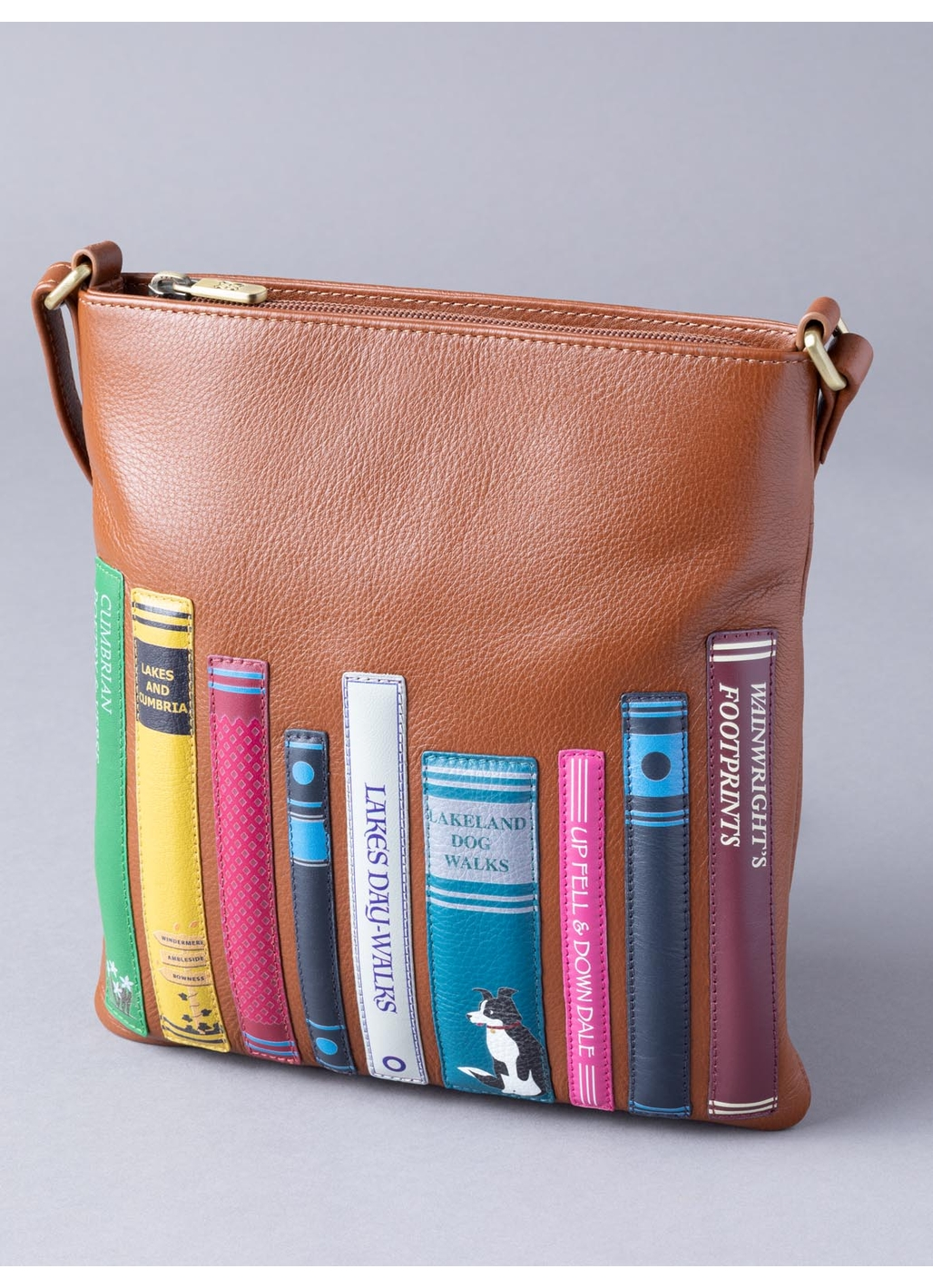 The Lakes Book Leather Cross Body in Tan