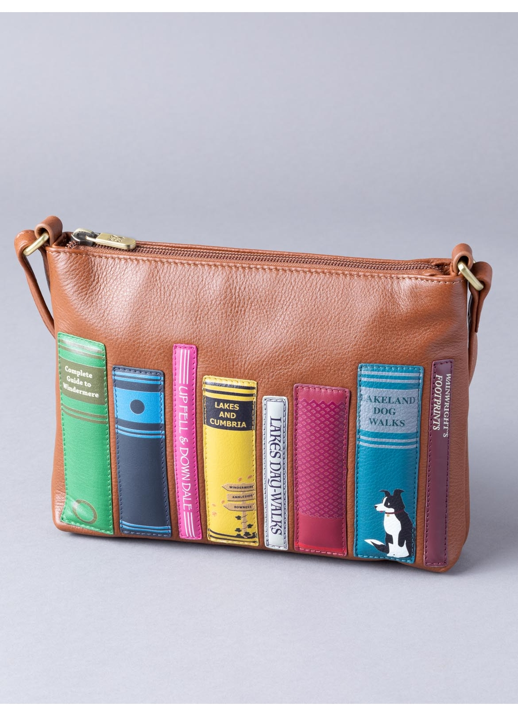 The Lakes Book Leather Cross Body Bag in Tan
