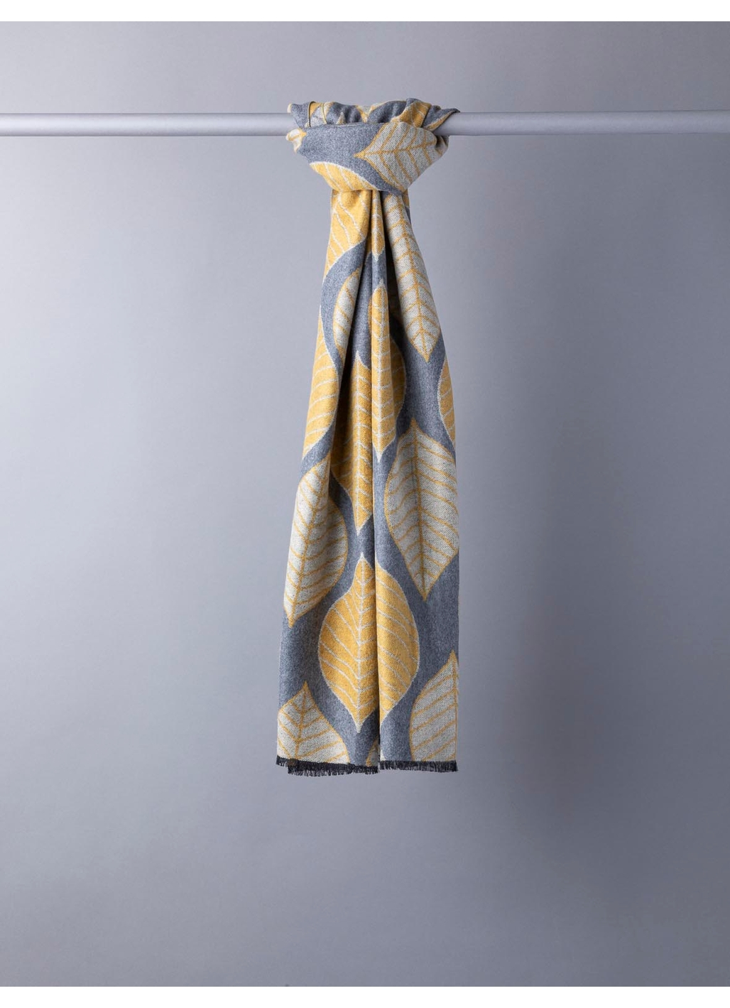 Terry Leaf Print Scarf in Mustard