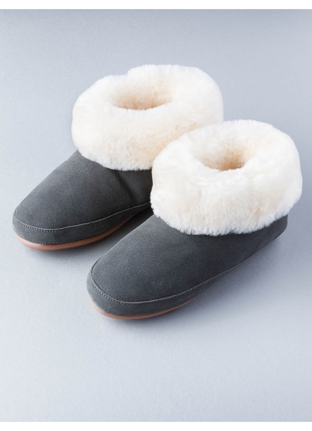 Ladies Sheepskin Boot Slippers in Dark Grey