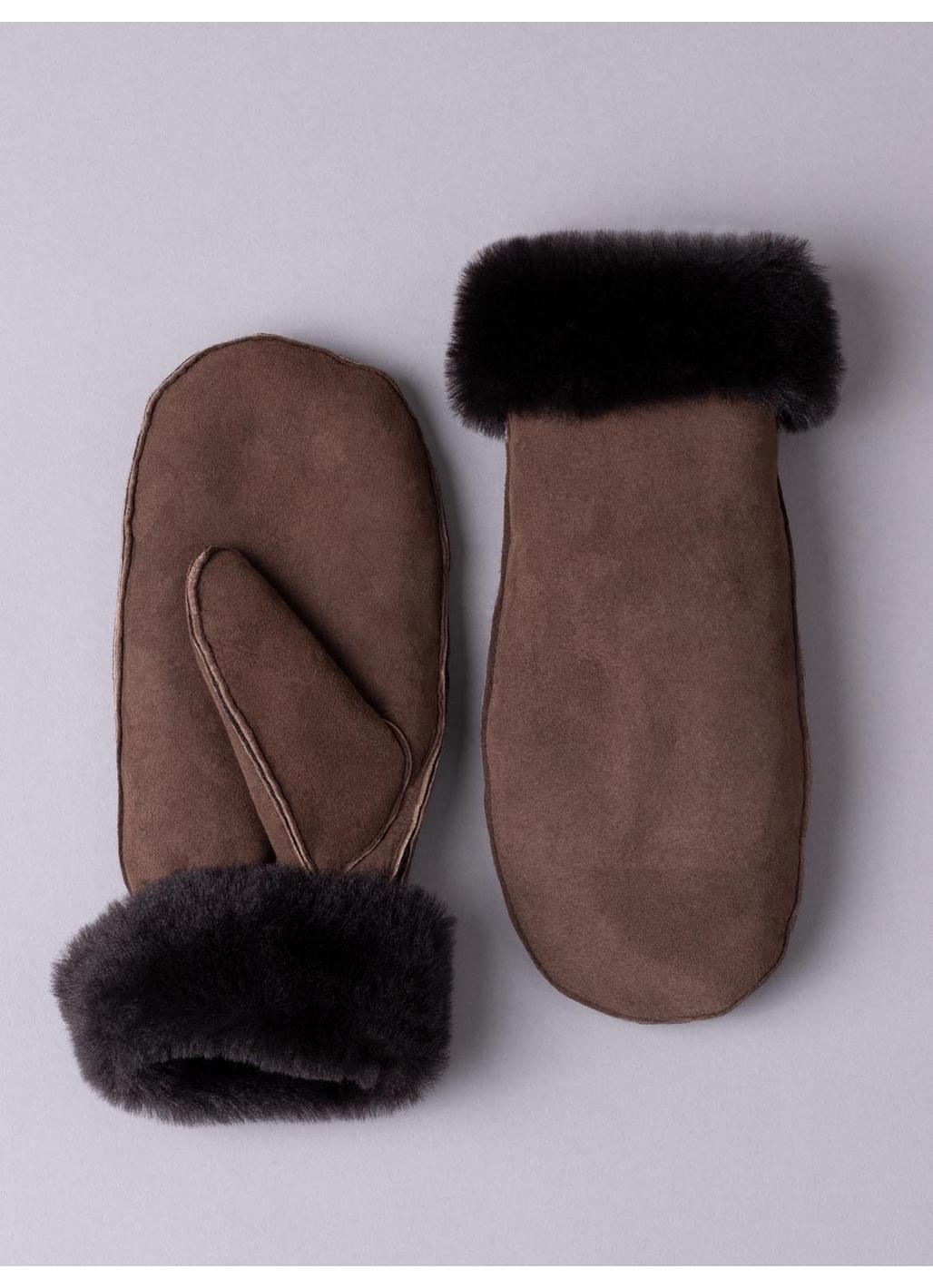 Ladies' Classic Sheepskin Mittens in Dark Brown