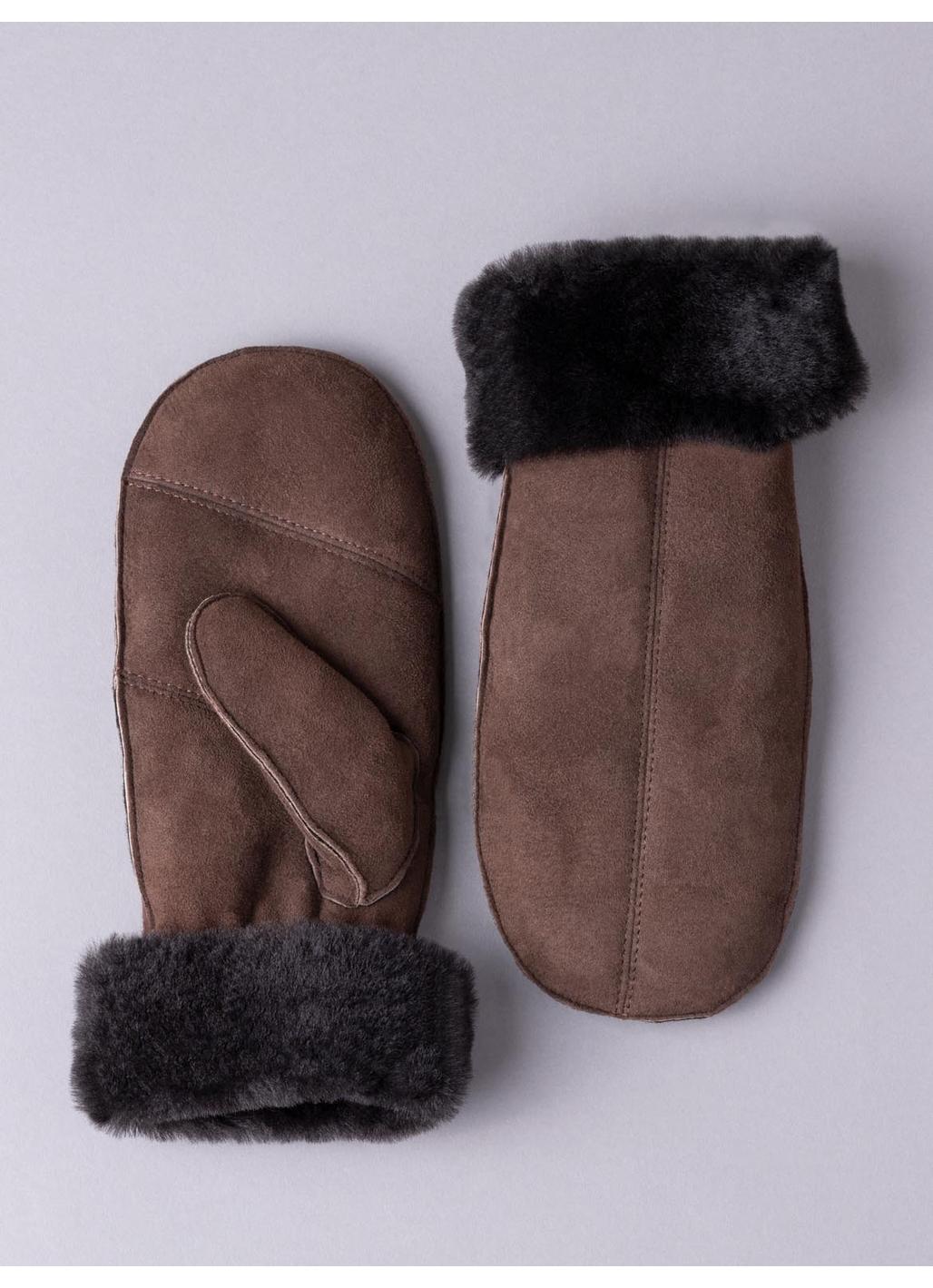 Ladies' Sheepskin Mittens with Seam in Dark Brown