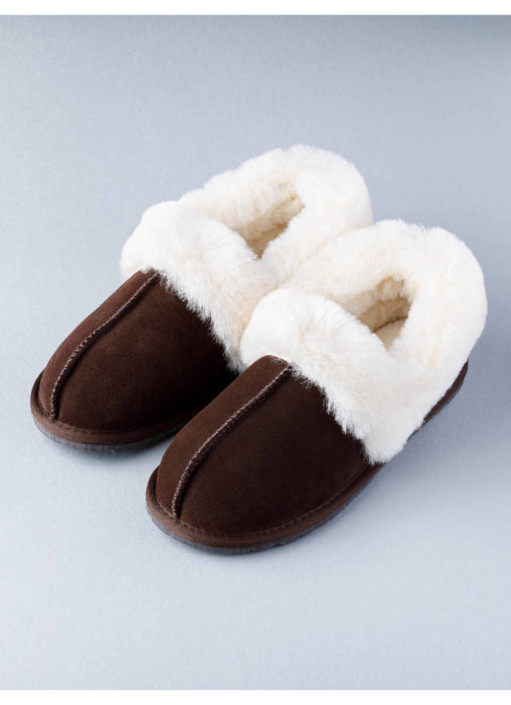 Ladies Sheepskin Cuff Slipper in Brown