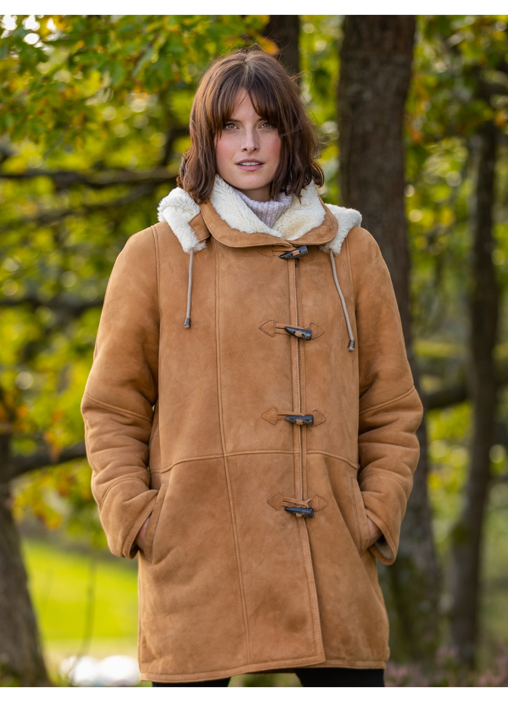 Parkgate Premium Sheepskin Duffle Coat in Tan