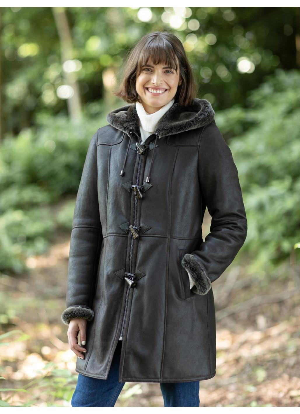 Dearham Sheepskin Duffle Coat in Dark Brown