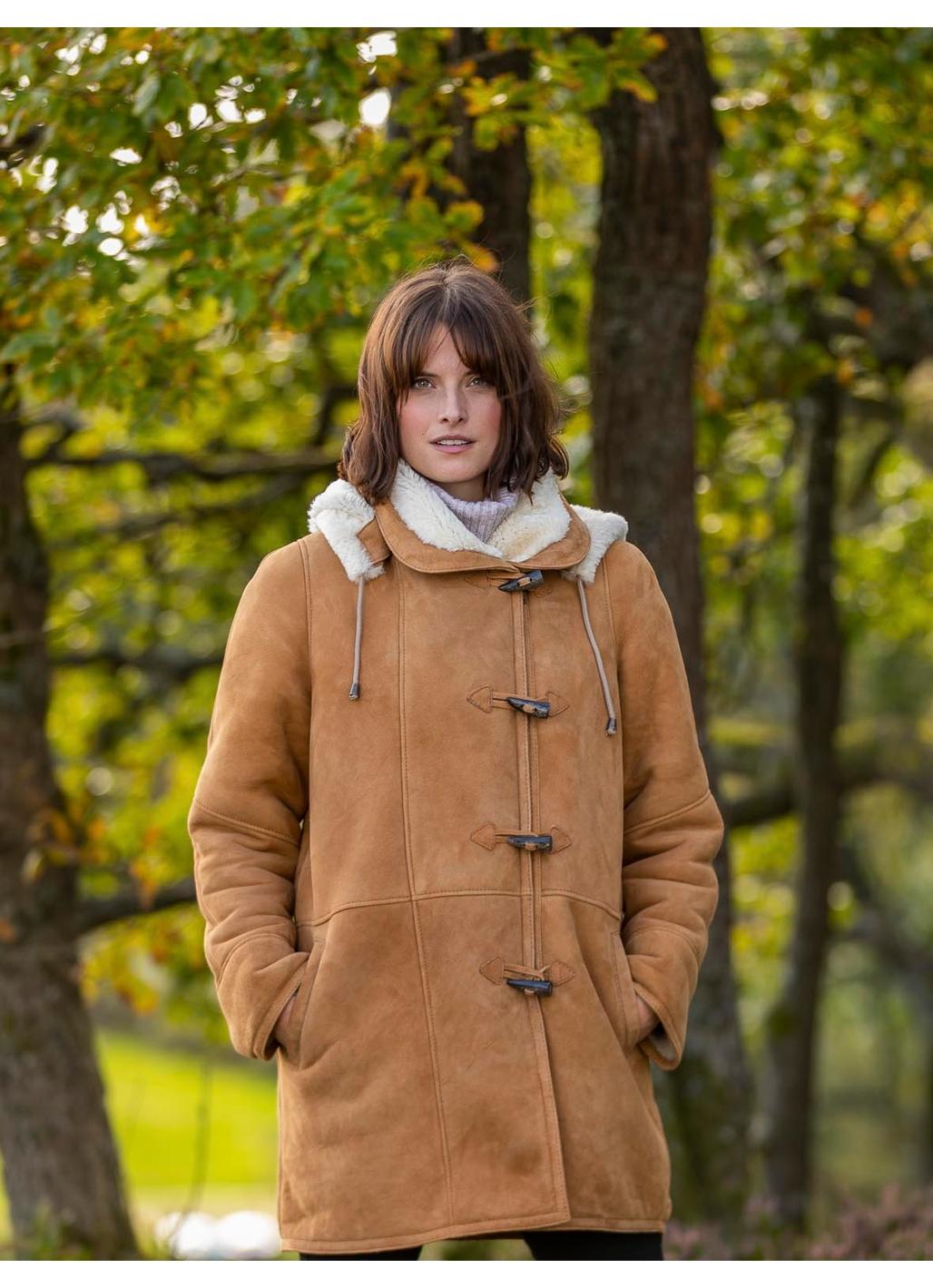 Parkgate Premium Sheepskin Duffle Coat in Tan
