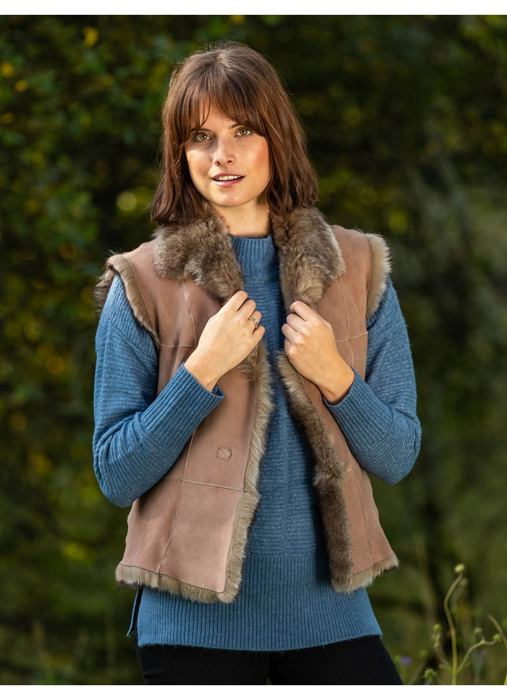 Sizergh Toscana Sheepskin Gilet in Pink Taupe