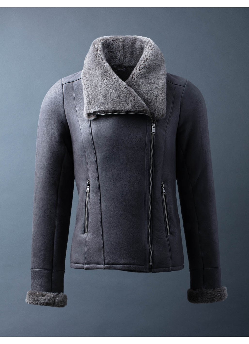 Allerby II Sheepskin Aviator Jacket in Charcoal
