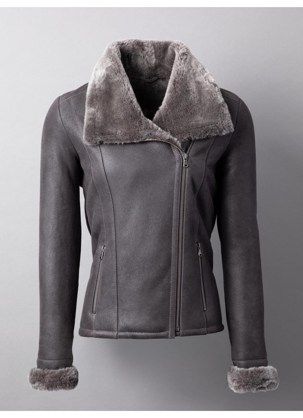 Arnside Sheepskin Aviator Jacket in Charcoal Grey