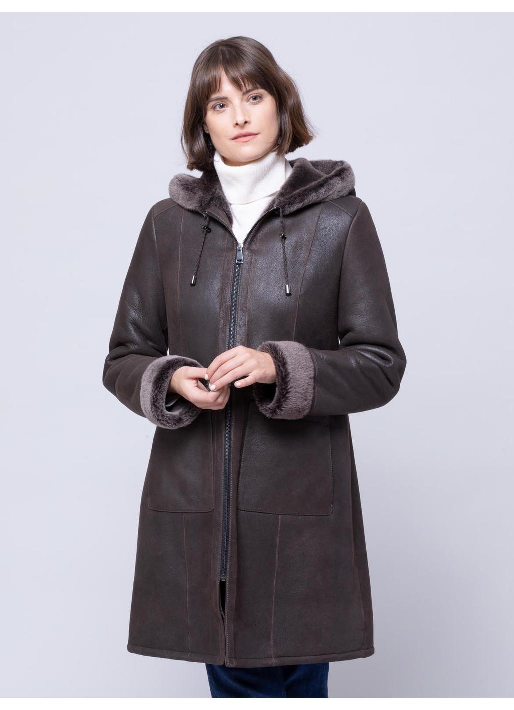 Plumpton Sheepskin Hooded Coat in Vole Brown