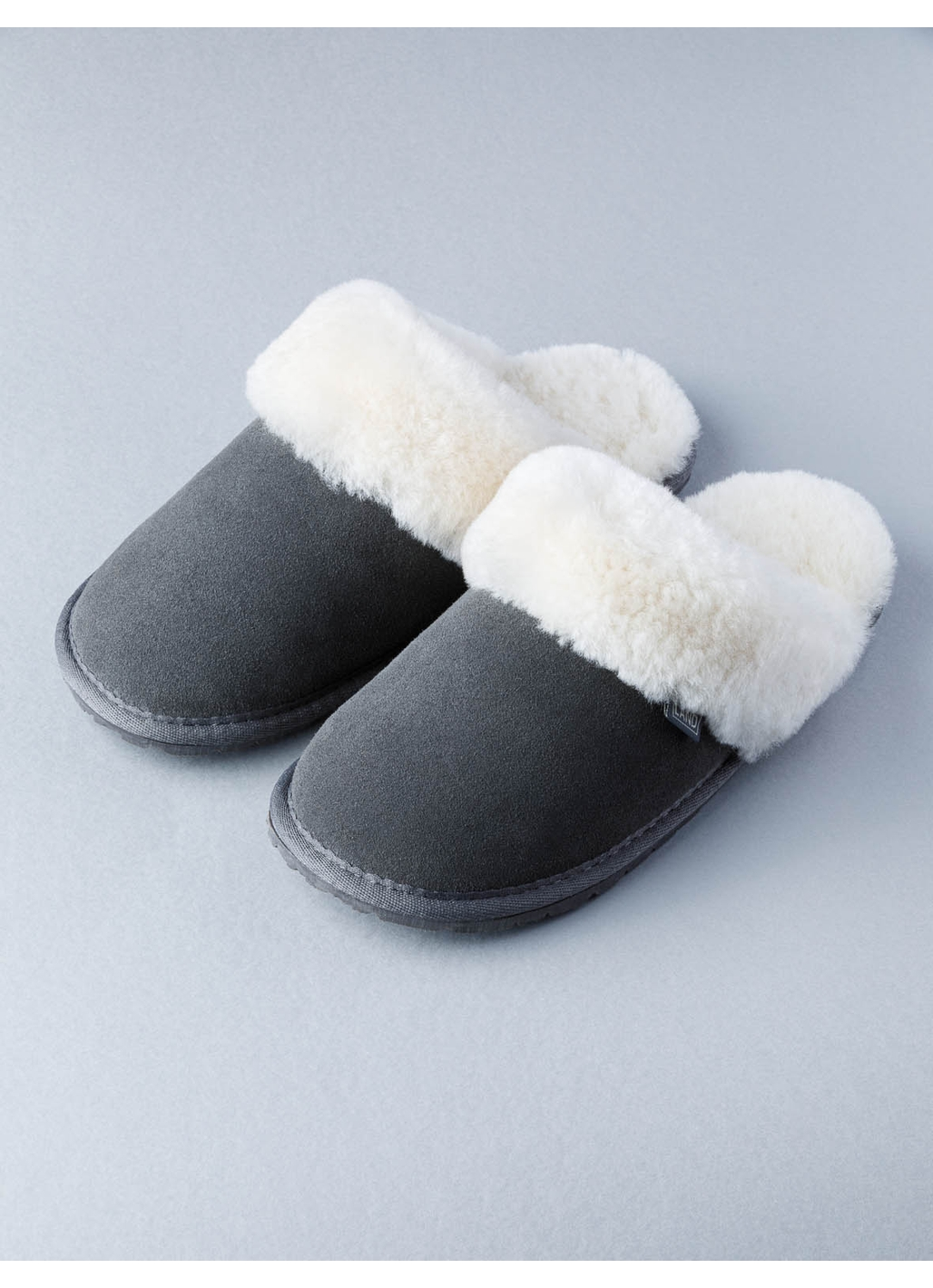 Ladies Sheepskin Slider Slippers in Dark Grey