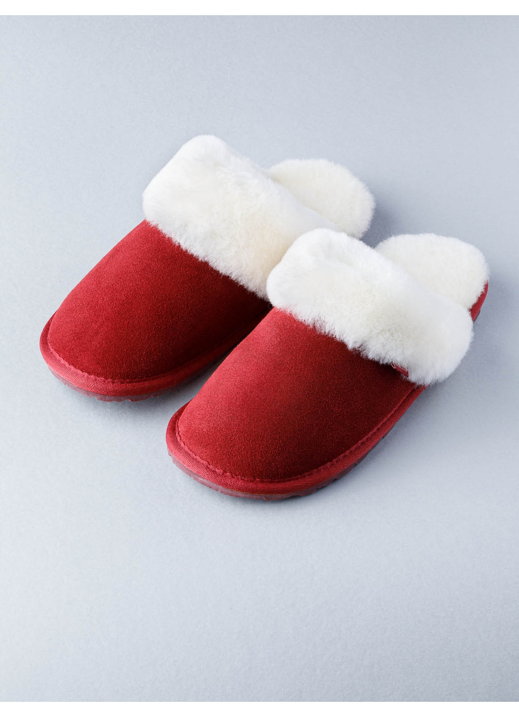 Ladies Sheepskin Slider Slippers in Dark Red
