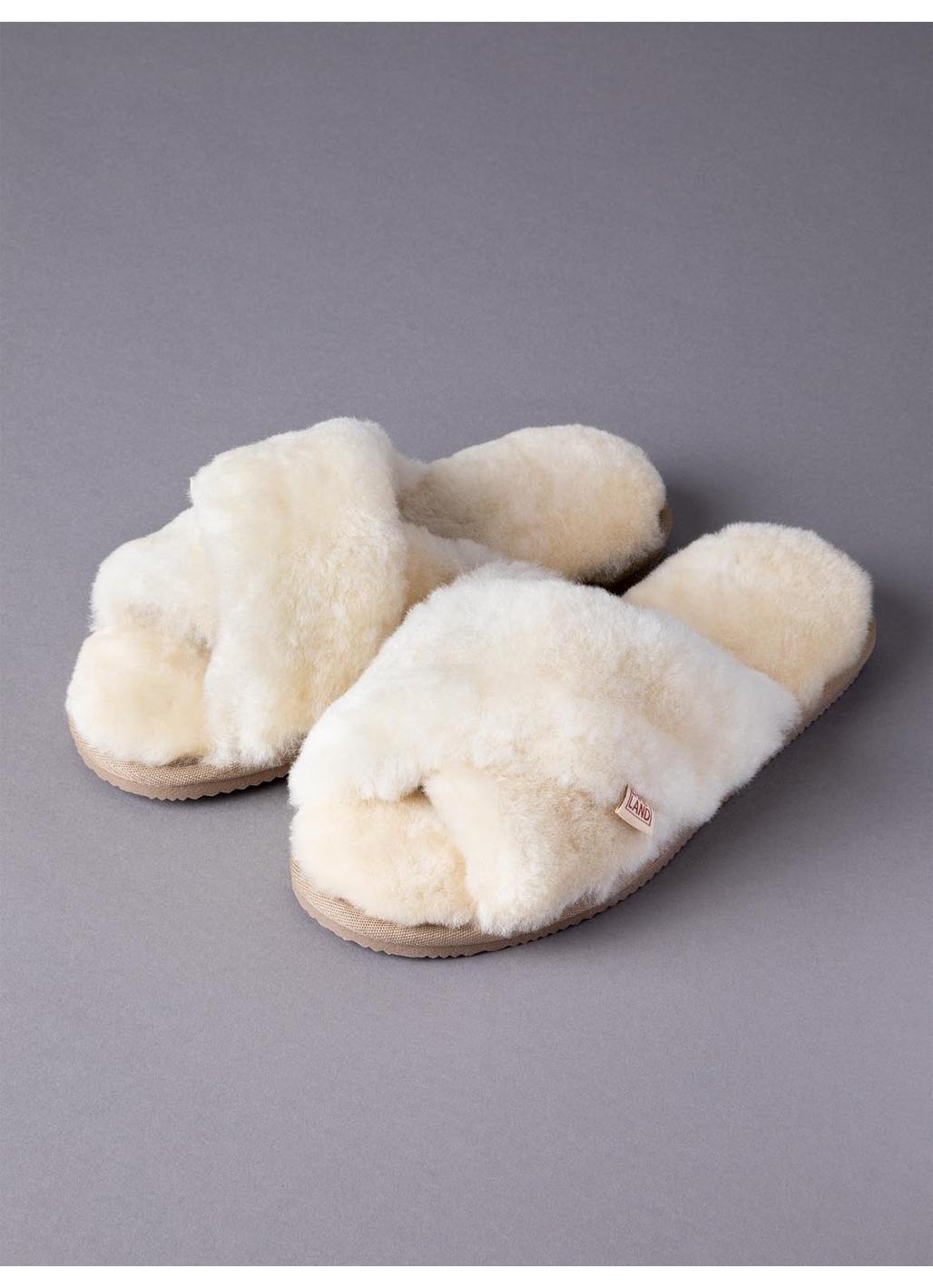 Ladies' Sheepskin Cross-Over Mules in Cream